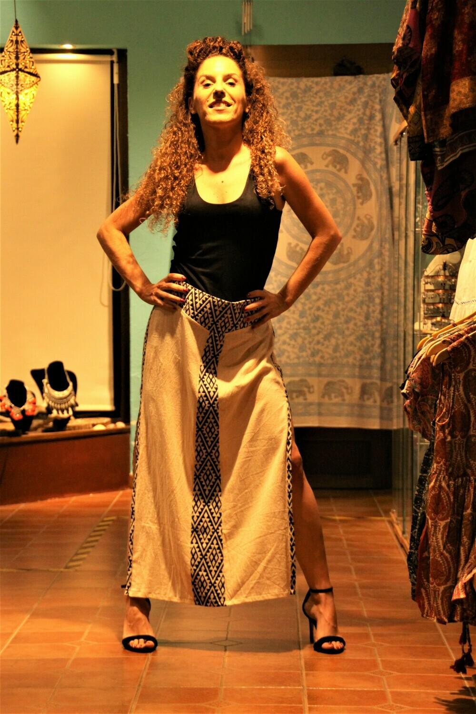 Falda tribal lino larga