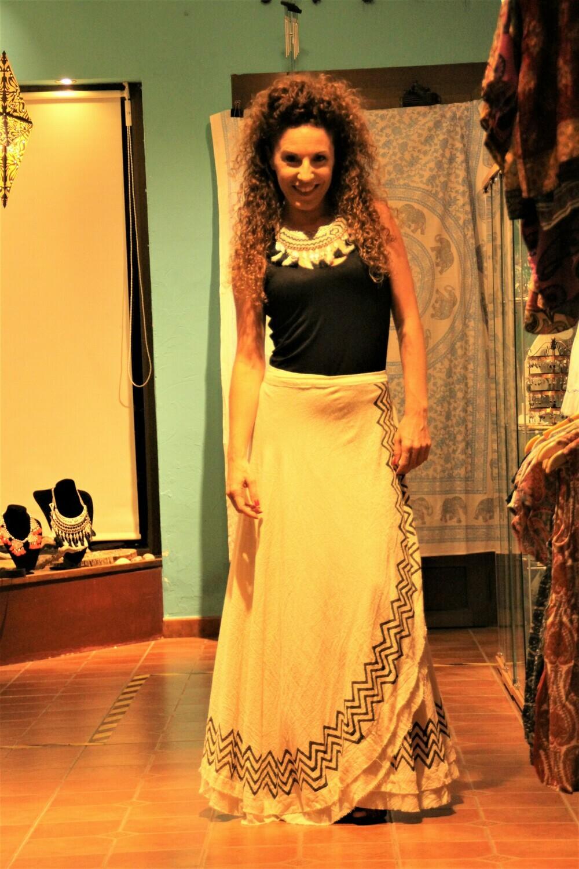Falda tribal lino larga cruzada
