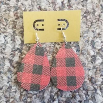 Teardrop Leather Earring - Red Buffalo Plaid