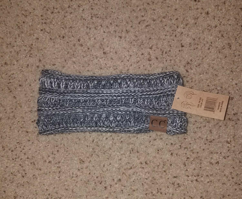 C.C. Four-Tone Ribbed Knit Headwrap - Multi Grey