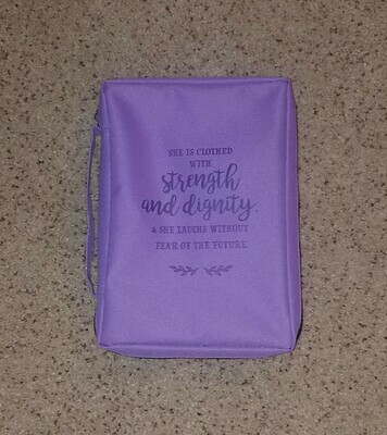 Strength and Dignity Purple Bible Cover - Large