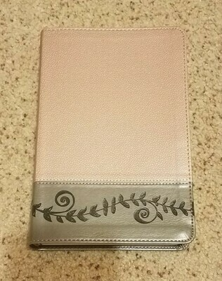 KJV Study Bible for Girls Pink Pearl/Gray, Vine Design Leather Touch
