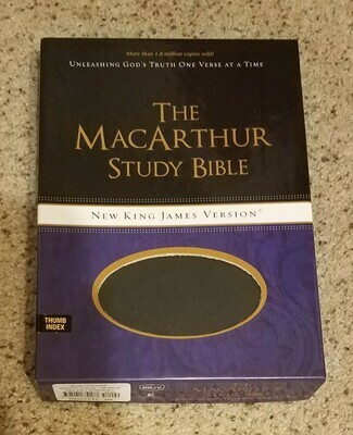 NKJV MacArthur Soft Leather Grey Indexed Bible