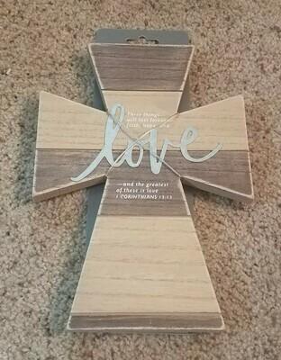 1 Corinthians 13:13 Love You Wood and Metal Wall Cross