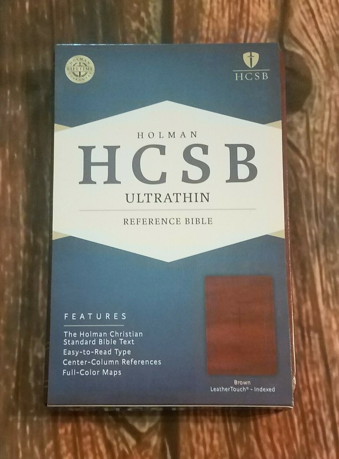 HCSB Holman Ultrathin Reference Bible Brown Leather with Cross