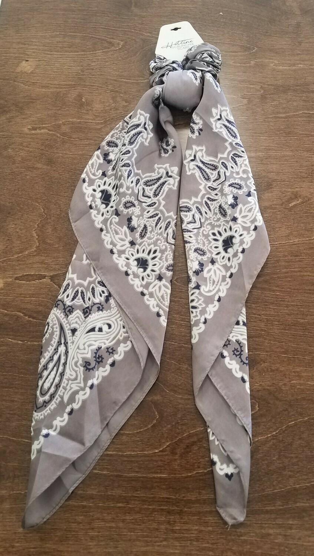 Hotline Hair Tie Scrunchie Scarf - Gray Paisley