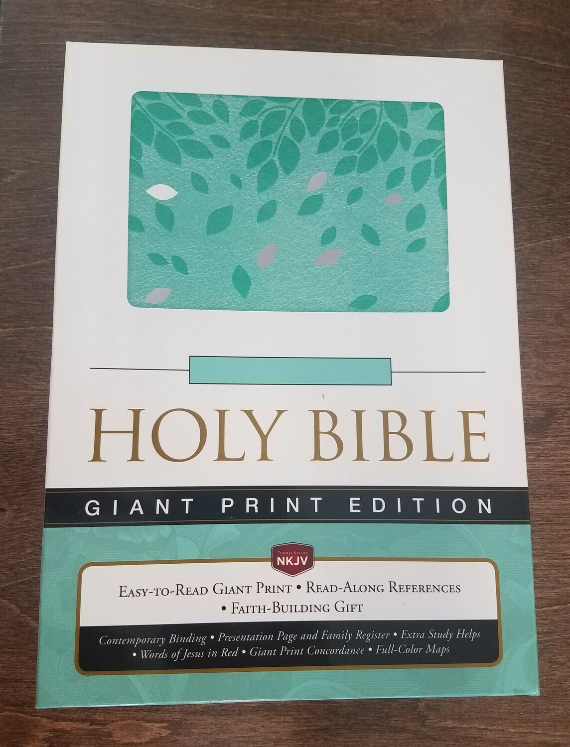 NKJV Giant Print Holy Bible Reference Edition - Soft Green Leather