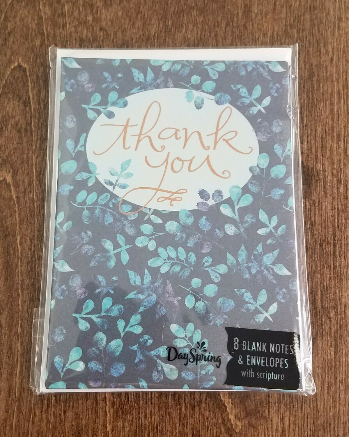 Blue Leaves Thank You Card and Envelope Package