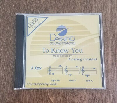 To Know You, Accompaniment CD