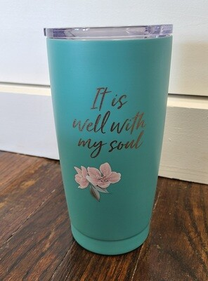 It is Well with my Soul Turquoise Steel Mug