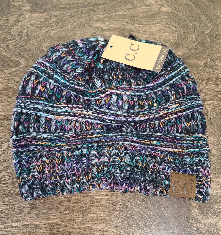 CC Diagonal Stitch Beanie - Multi Black