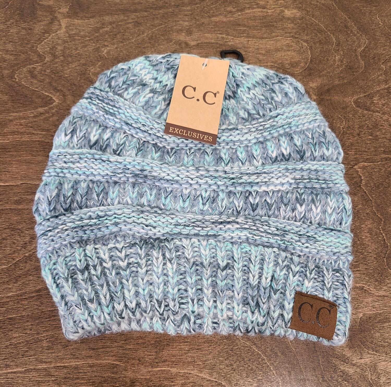 CC Diagonal Stitch Beanie - Multi Denim