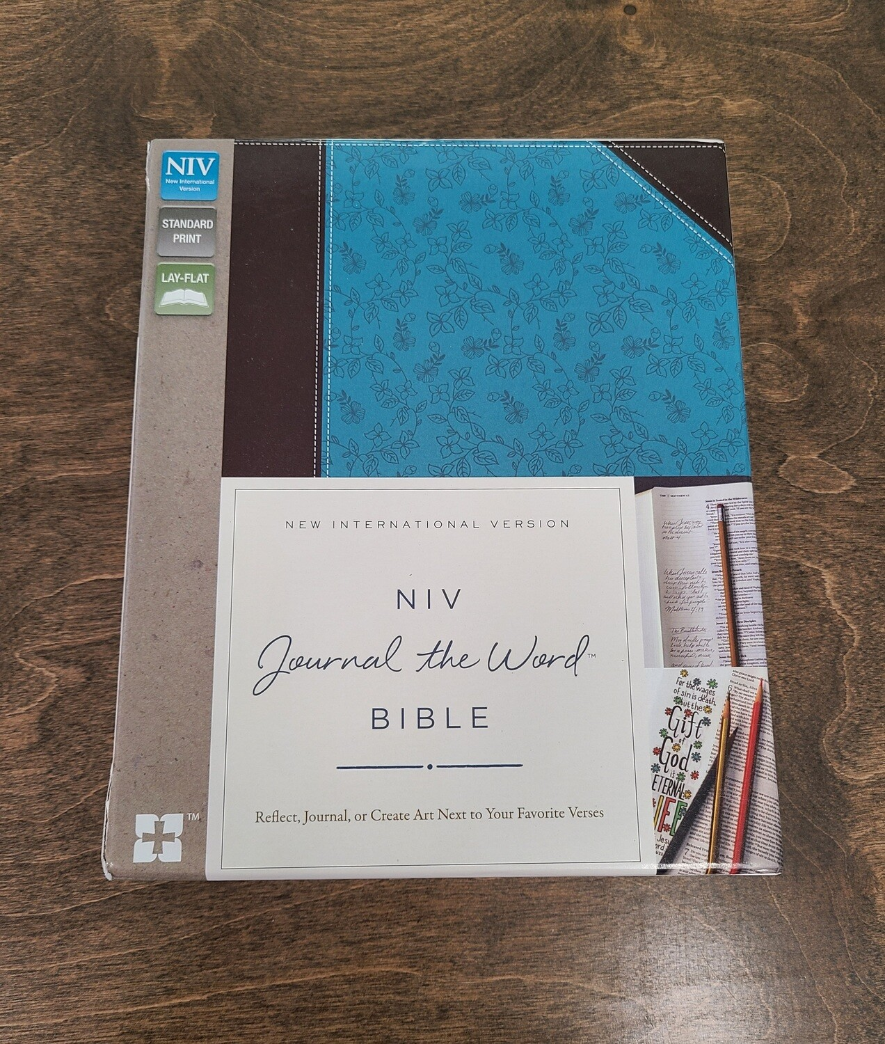 NIV Journal the Word Bible - Chocolate/Turquoise Soft Leather Look