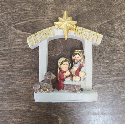 Silent Night Resin Creche with Attached Holy Family and Lamb