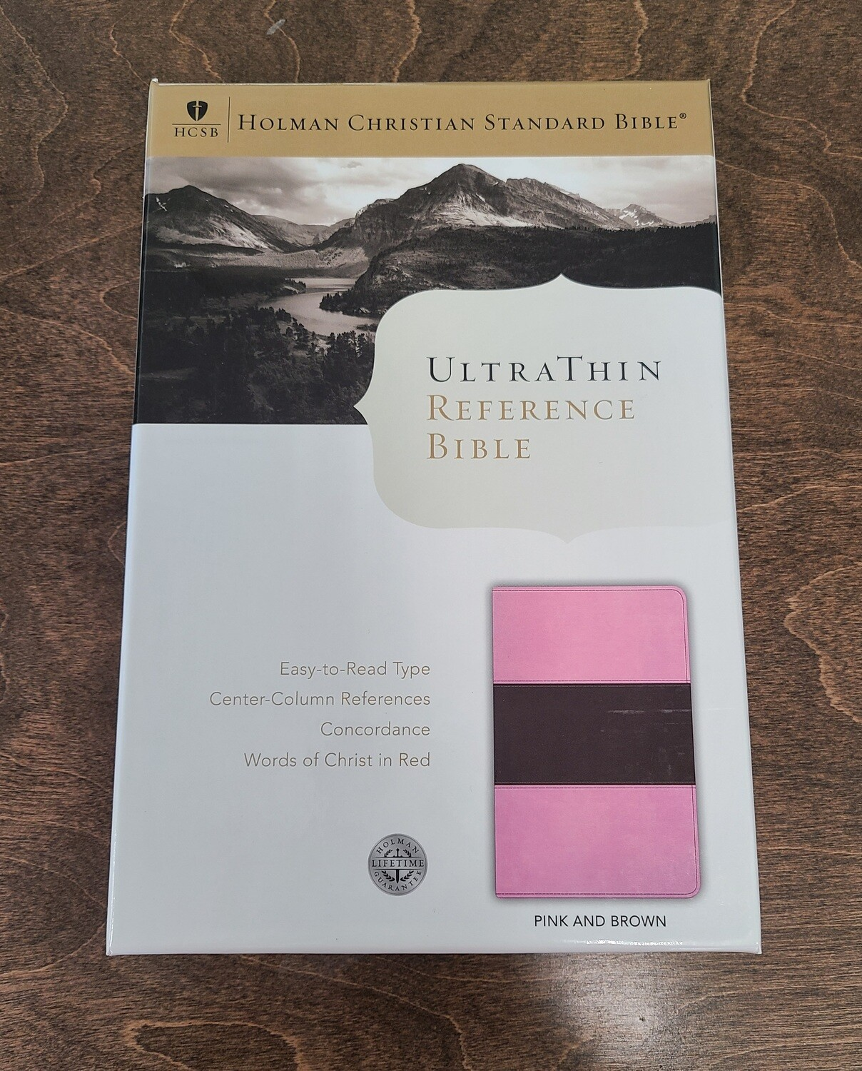 HCSB Ultrathin Reference Bible - Pink and Brown LeatherTouch