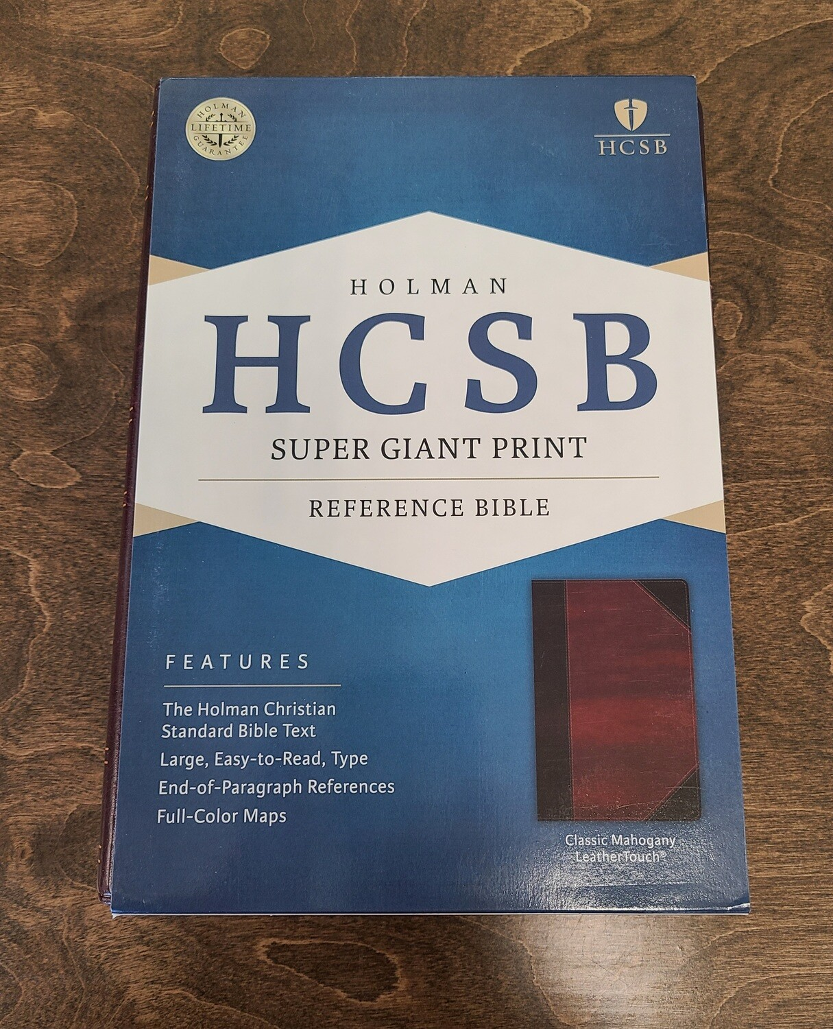 HCSB Super Giant Print Reference Bible - Mahogany LeatherTouch