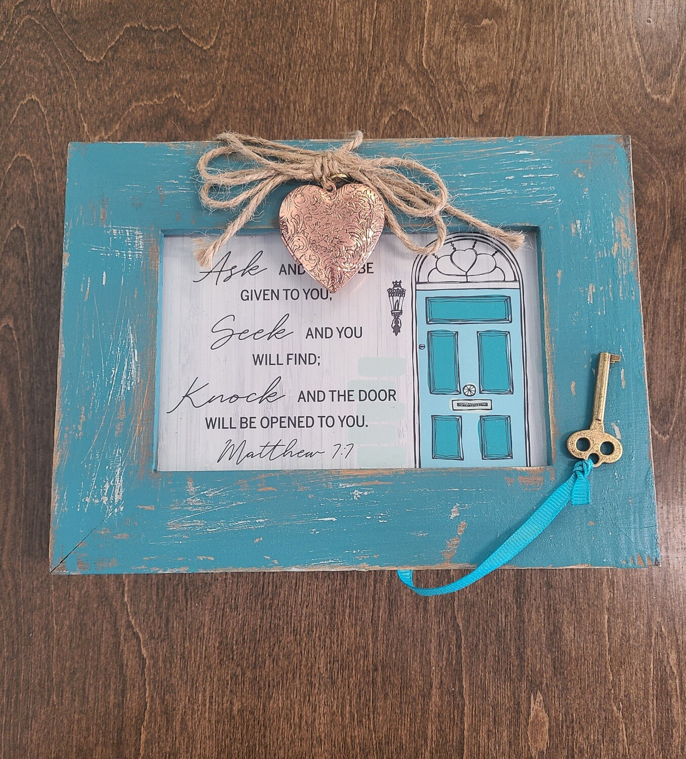 Ask and It Will Be Given To You Teal Wooden Music Box