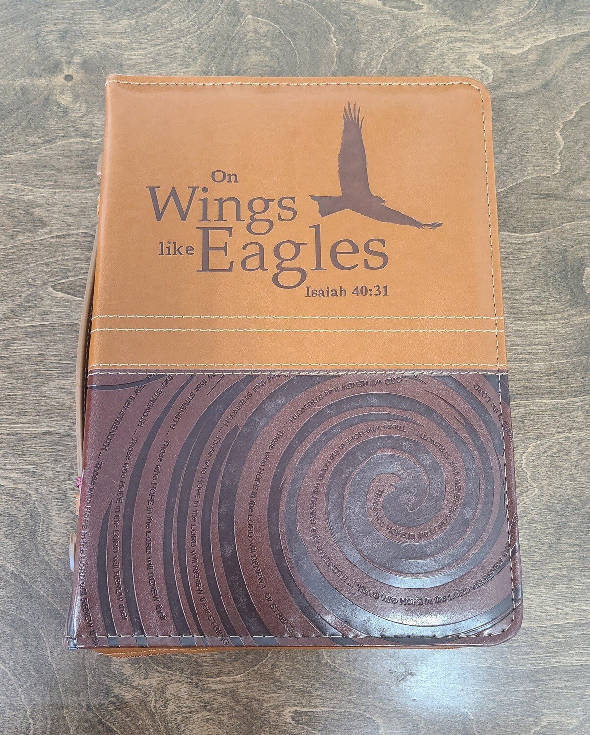 On Wings Like Eagles Large Brown Faux Leather Bible Cover