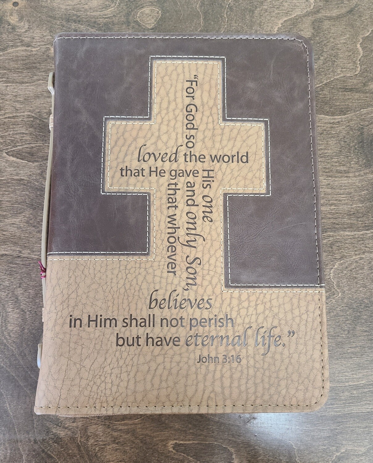 For God So Loved the World Brown and Tan Medium Bible Cover