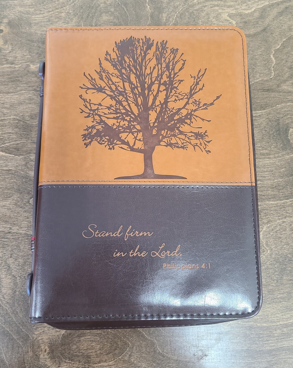 Stand Firm in the Lord Medium Brown Leather Bible Cover