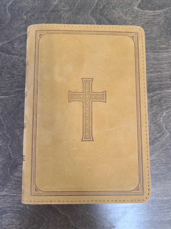 Tan Premium Leather Large Print Compact KJV Bible