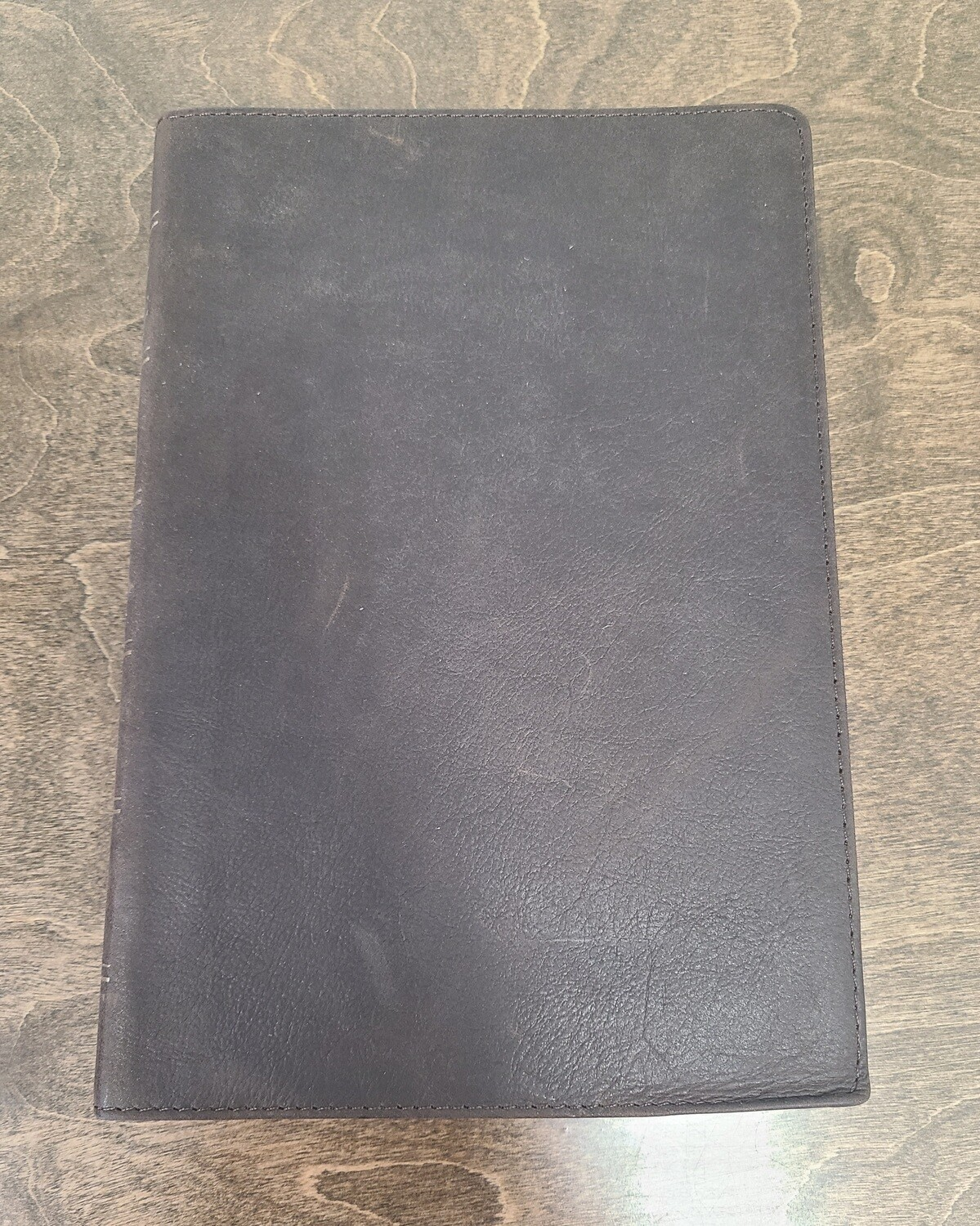 Dark Brown Premium Leather Large Print Thinline KJV Bible with Thumb Index