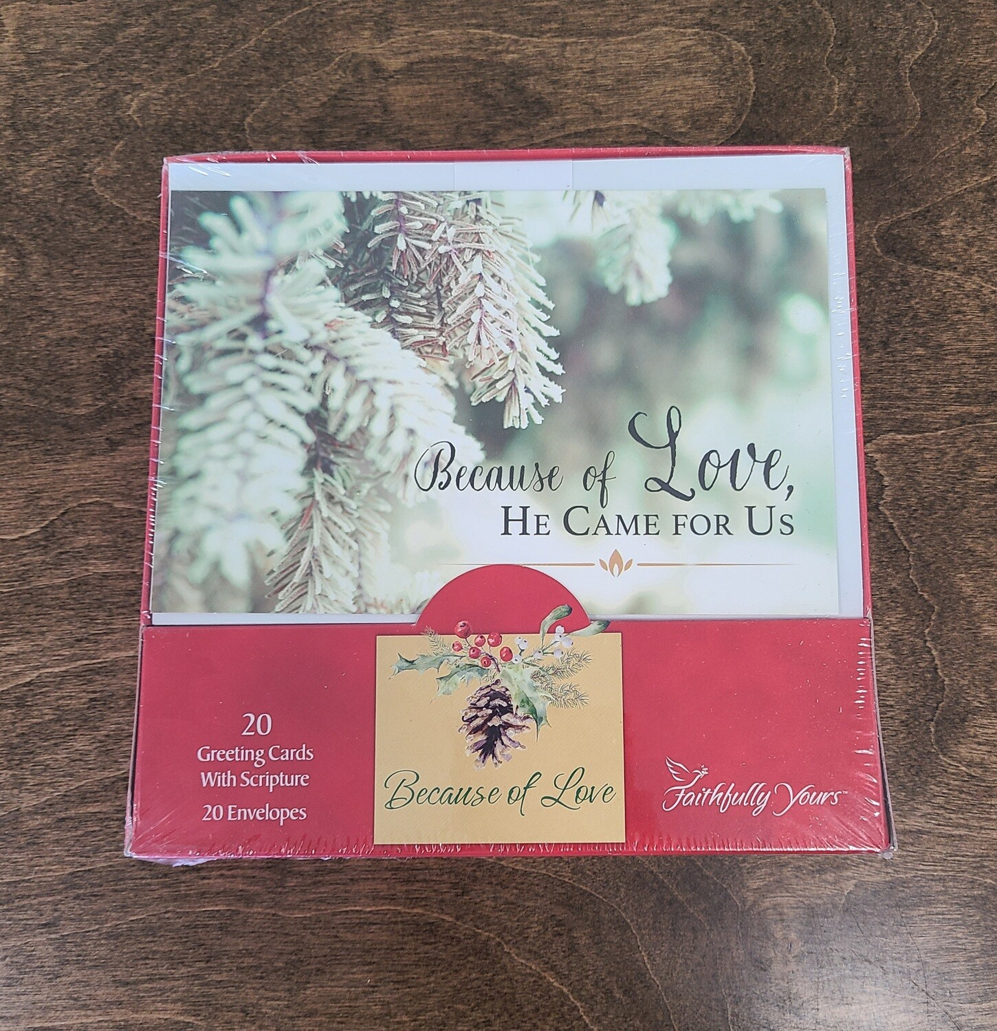 Because of Love, He Came for Us 20 Boxed Christmas Cards with Scriptures and Envelopes