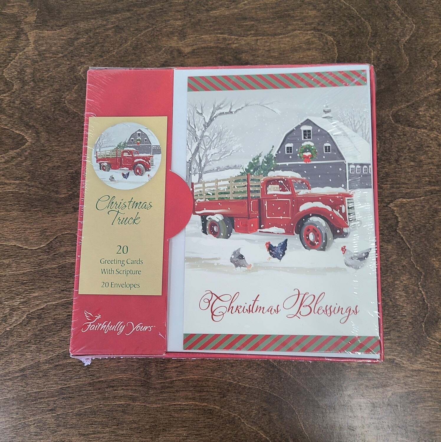 Christmas Truck Blessings Boxed 20 Cards with Scripture and Envelopes