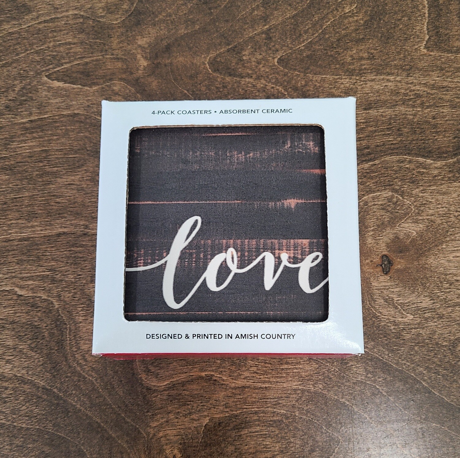 Love, Faith, Grace, and Hope 4 Count Coaster Pack