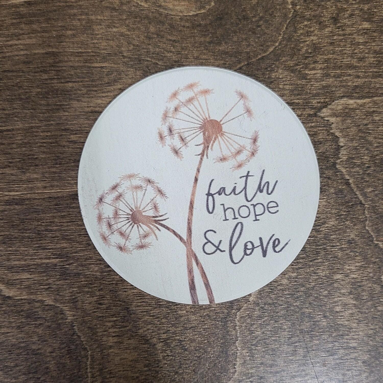 Faith, Hope, and Love Car Coaster