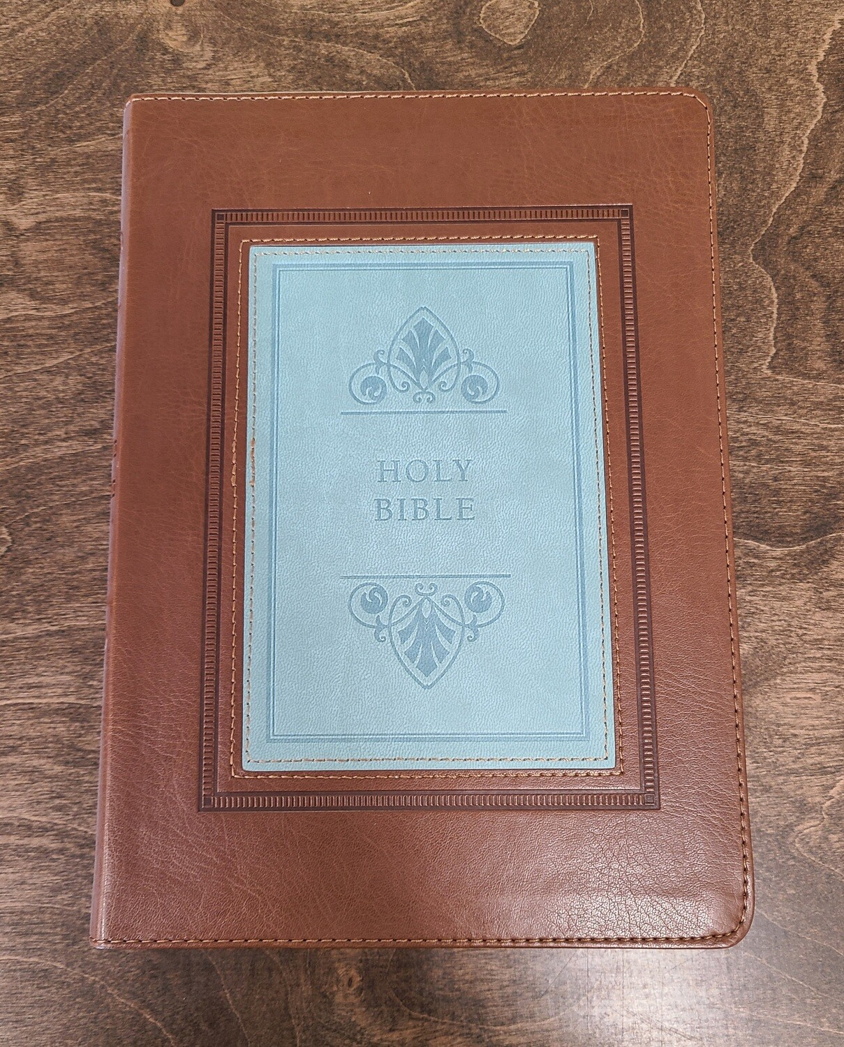 KJV Study Bible - Large Print Thumb-Indexed Edition - Brown/Teal Leather