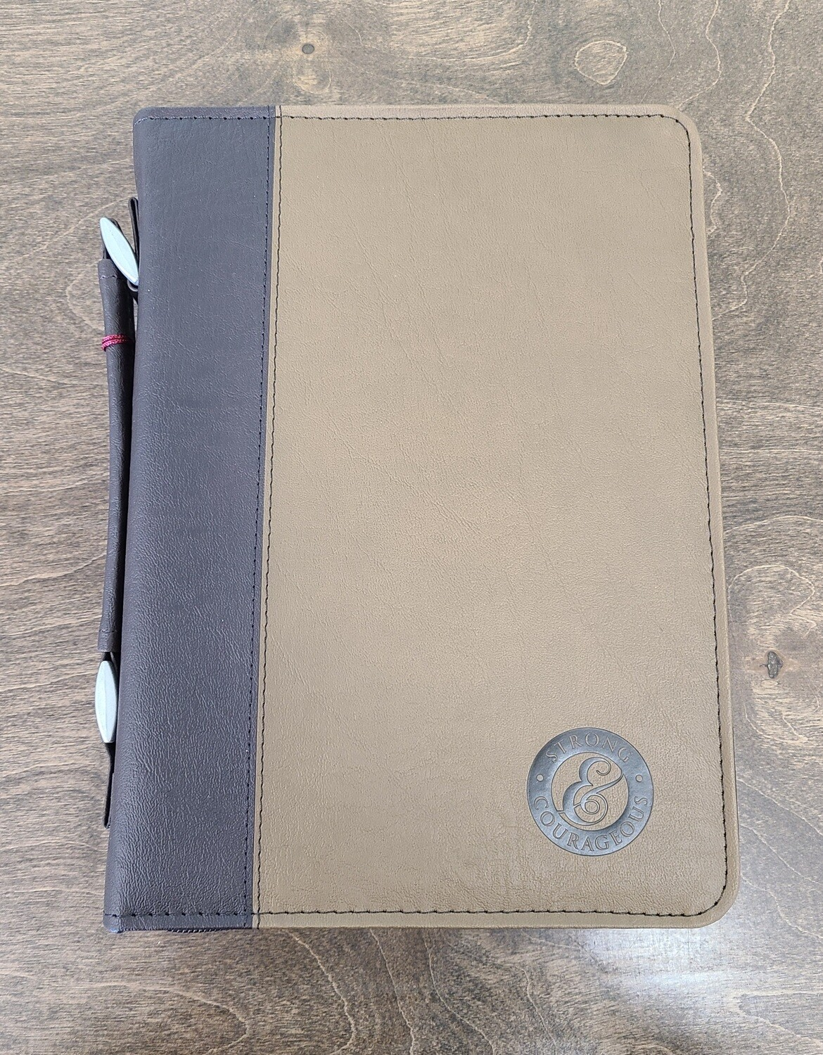 Strong and Courageous Two-Tone Brown Leather Bible Cover - Medium