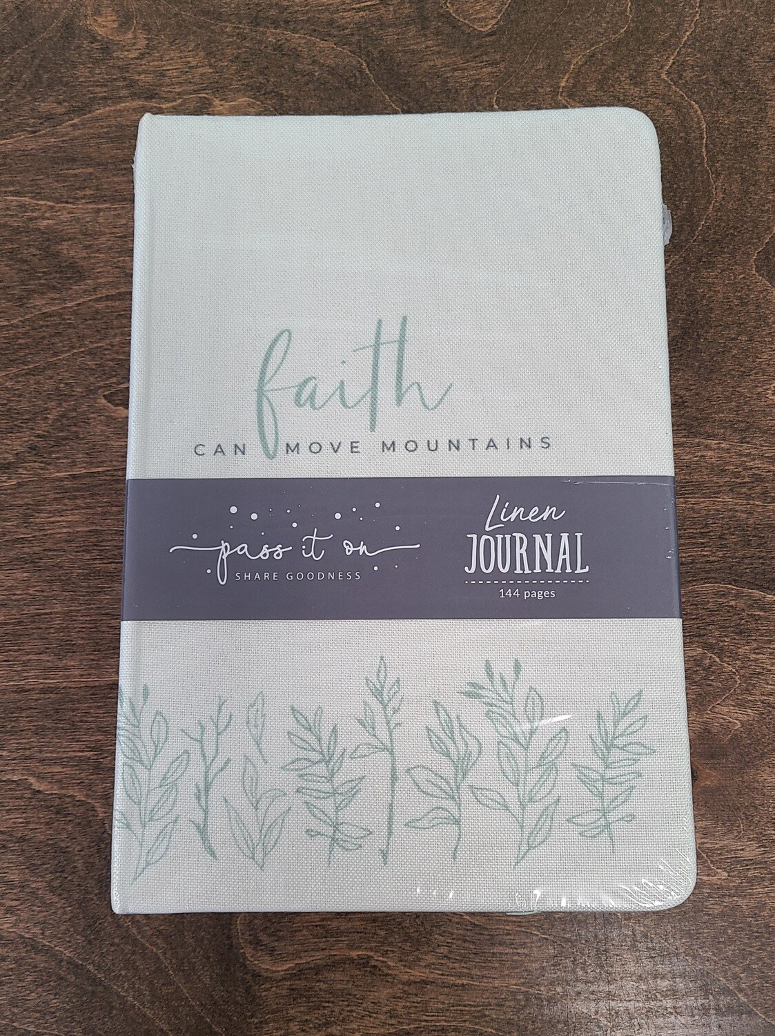 Faith can Move Mountains Light Tan Linen Journal with Green Sewing