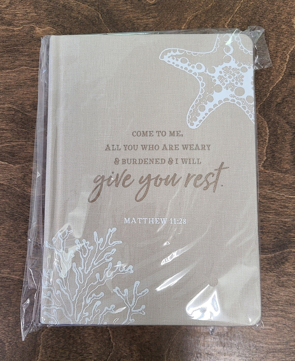 Come to Me, All You Who Are Weary and Burdened and I Will Give You Rest Tan Linen Hardcover Journal
