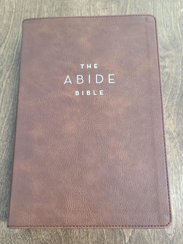 NET Comfort Print Abide Bible - Brown Leathersoft