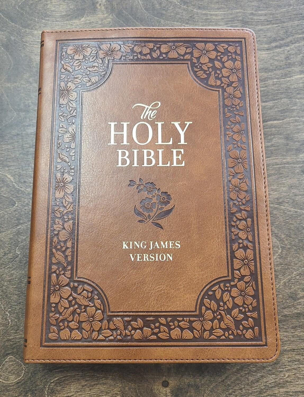 KJV Giant Print Full-Size Holy Bible - Tan Floral Leather