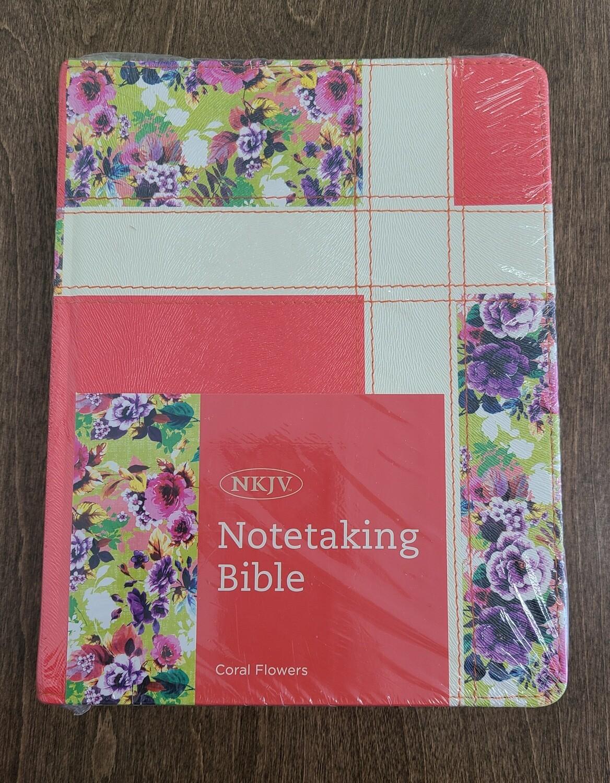 NKJV Notetaking Coral Flowers Hardcover Bible