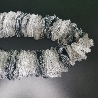 Black, Grey, and White Ruffle Scarf