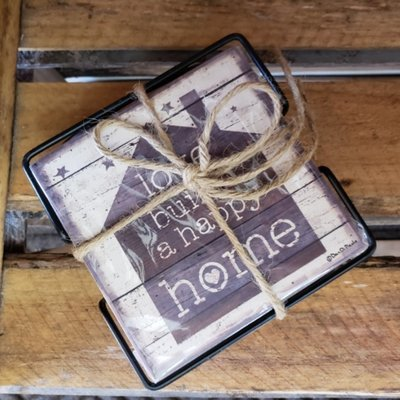 Coaster Set - Love Builds A Happy Home
