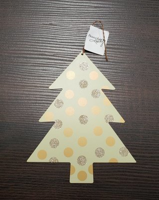 Tin Tree Ornament - Polka Dotted Pattern - Primitives by Kathy