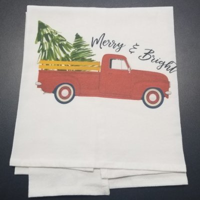 Merry & Bright Christmas Truck Tea Towel