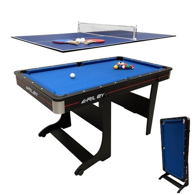 Riley Folding Pool Table 2 in 1 - 5ft - Vertical Folding  - with Table Tennis Top - Black with Blue Cloth