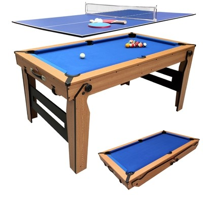 BCE Folding 2 in 1 Pool Table - Blue Cloth/ Oak Finish 5ft with Table Tennis Top - folds flat