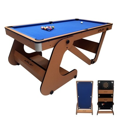 Riley Folding Pool Table with dartboard - 6ft - Vertical Folding - Beech Finish with Blue Cloth