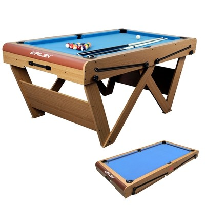 Riley Folding Snooker/ Pool Table- Oak Finish with Blue Cloth - 6ft - Folds Flat