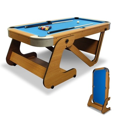 Riley Folding Pool Table - 6ft 6in - Vertical Folding - Beech Finish with Blue Cloth