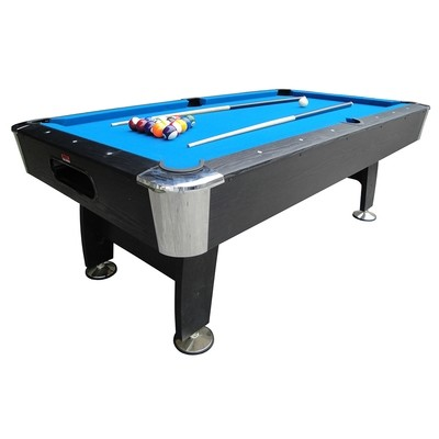 BCE Black Cat American Pool Table - 7ft - black with blue cloth - fixed leg