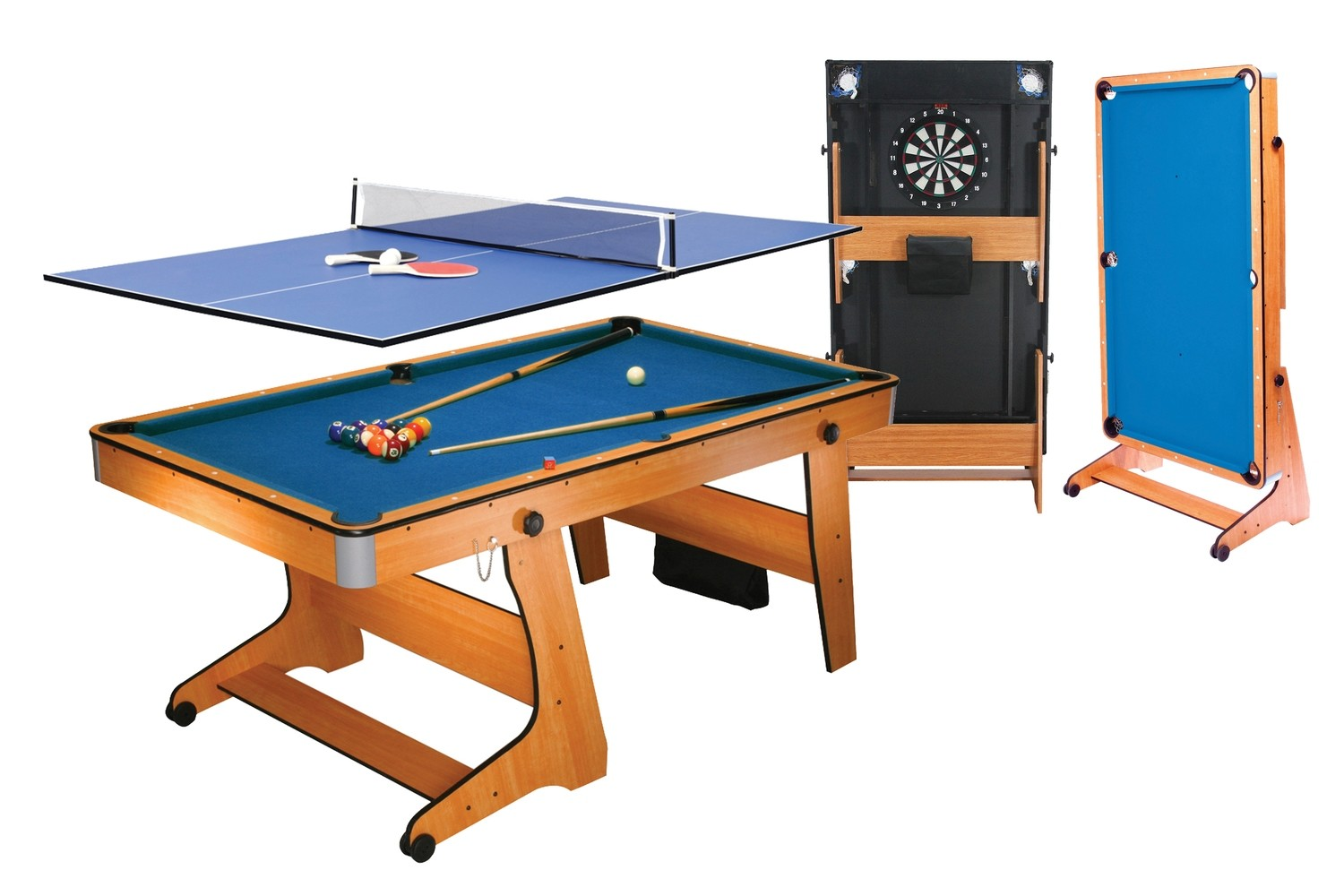 BCE Folding 3 in 1 Pool Table - Blue Cloth/ Beech Finish 6ft with Table Tennis Top - Folds Vertically