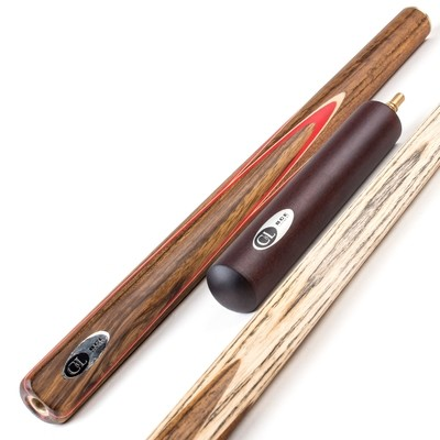 BCE 3 Piece English Pool Cue 3/4 Cut- Exotic Wood Butt with 8.5mm Tip - 145cm - Red/ Natural Wood