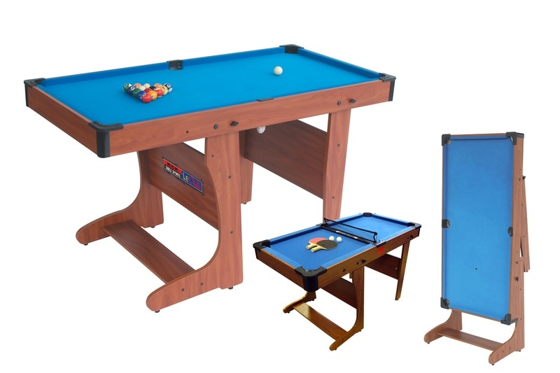 BCE Clifton Folding Pool Table - Blue Cloth 6ft Folds Vertically - includes table tennis game